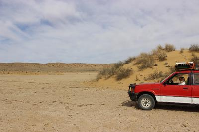 In the middle of a dry pan with a sand dune in the background.