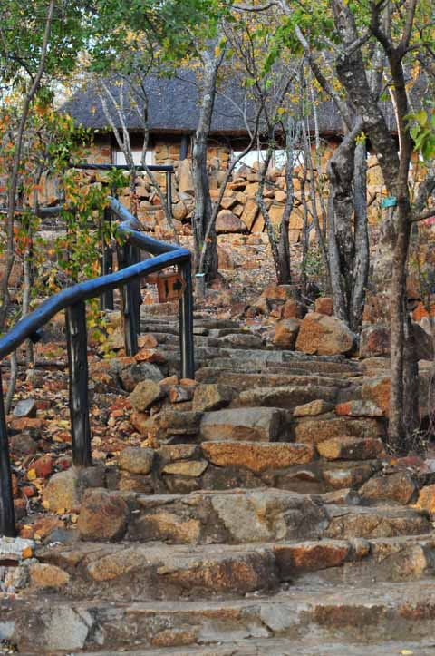 132 steps climb from Tshukudu enterance to main reception area