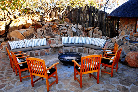 Large Boma area near dining area at Tshukudu Bush Lodge
