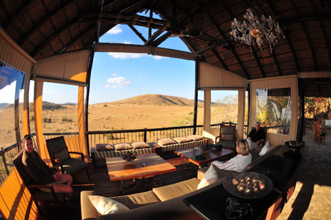 Panoramic view from Tshukudu lounge area in Pilanesberg