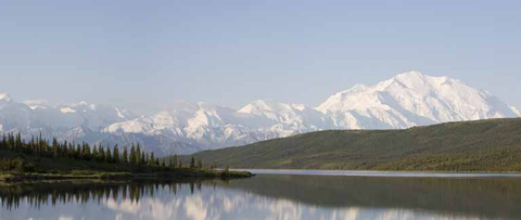 Lanscape of Snow capped Mountains and Lake