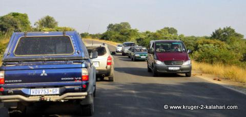 blocked road in Kruger