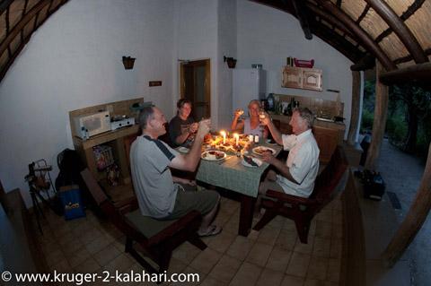 dinner at Bateleur camp