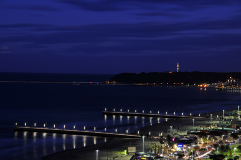 Durban harbour entrance at night
