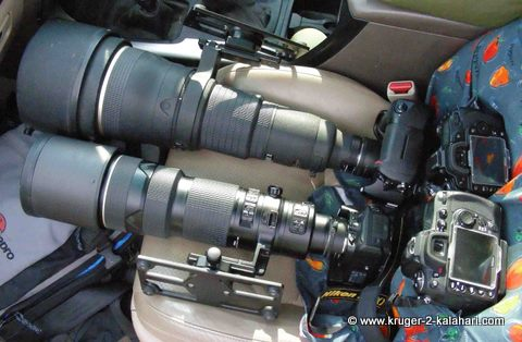 Nikon lenses on car seat