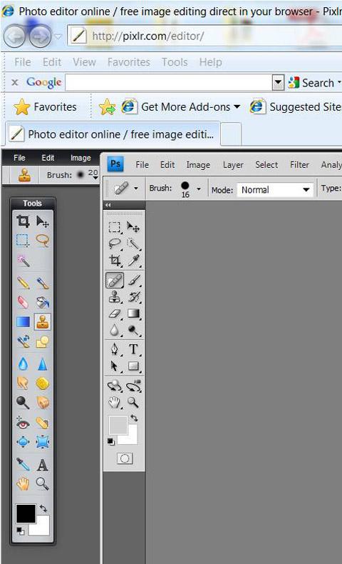 Pixlr and Photoshop comparison