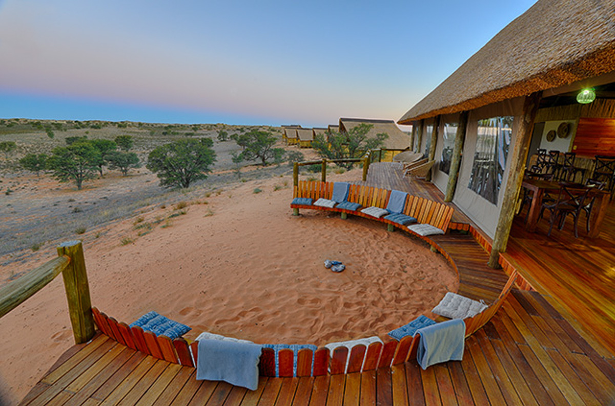 view from wooden deck over looking waterhole