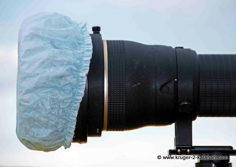 Shower cap on Nikon lens