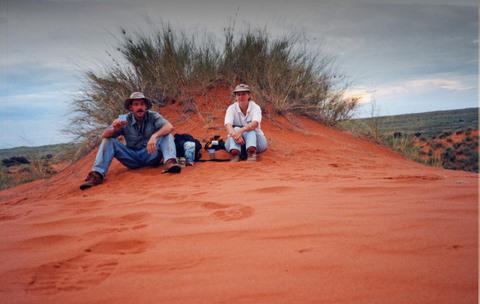 Jenny and I having sundowners ontop of a red Kalahari Dune in Twee Rivieren Camp