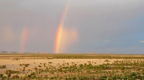 Western Etosha hills and rainbow