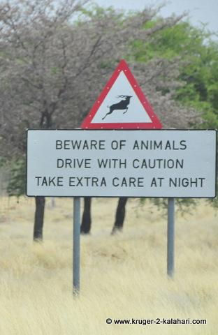 Warning sign in Botswana