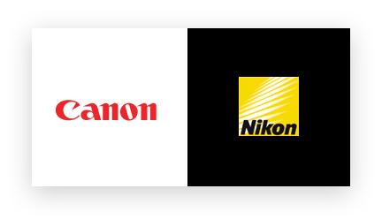 Canon and Nikon logos