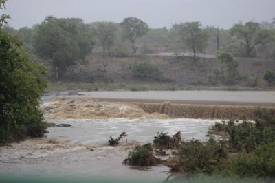The Gasanfthombi  Dam overflowing.