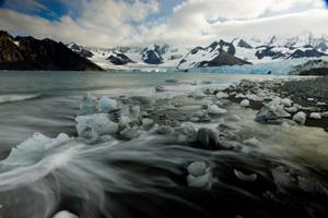 ice-strewn beach