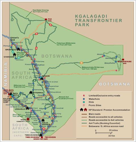 Kgalagadi transfrontier park map