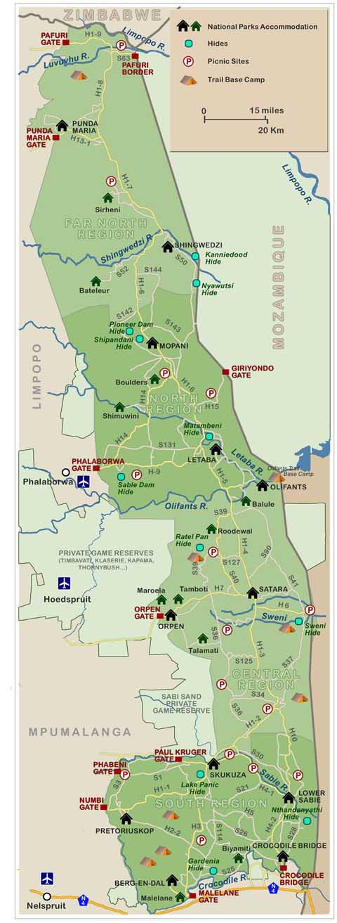 map of kruger national park