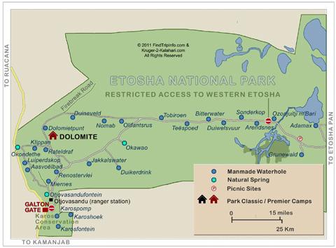 Western Etosha map