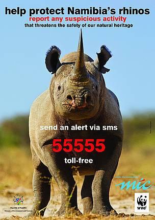 rhino poaching poster in Namibia