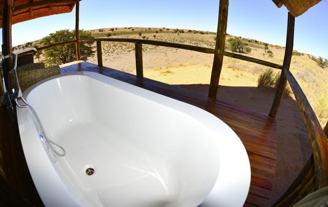 Bath time on deck of honeymoon unit