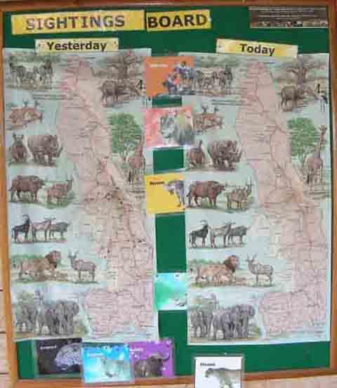 Letaba camp kruger park sighting board